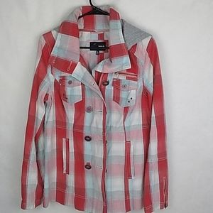 Hurley Red/Blue Plaid Hooded Jacket Size Small